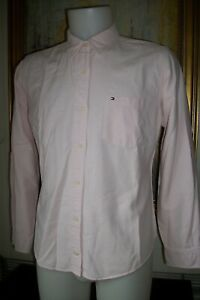 Chemisier-coton-rose-TOMMY-HILFIGER-XL-42-44-manches-longues-brode-logo