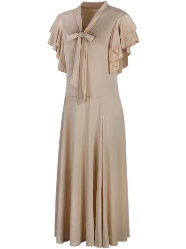Vintage 1920s V Neck Long Bias Sleeveless Flapper Dress Flutter Sleeves Bowknots