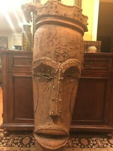 Amazing-Large-Vintage-African-Mask-5-Foot-Tall-Art-Wood-Hand-Carved-Native-Rare