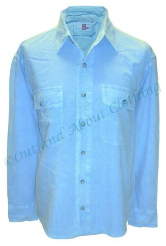 Sky Blue Deal Clothing Mens Long Sleeved Shirt Casual Washed Look