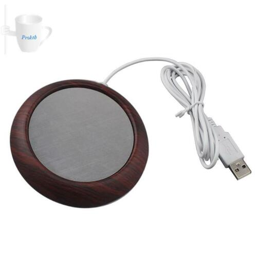 Electric Cup Heater USB Cup Warmer Wood Grain Plate Tea Beverage Home Accessory