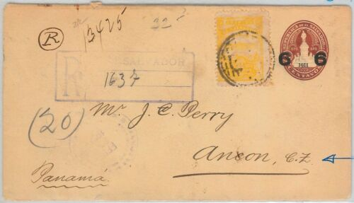 51077 EL SALVADOR POSTAL HISTORY POSTAL STATIONERY COVER to PANAMA!