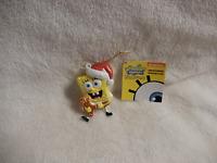 Christmas Spongebob In Santa Hat Holding Small Gingerbread Man Blowmold Orn -new