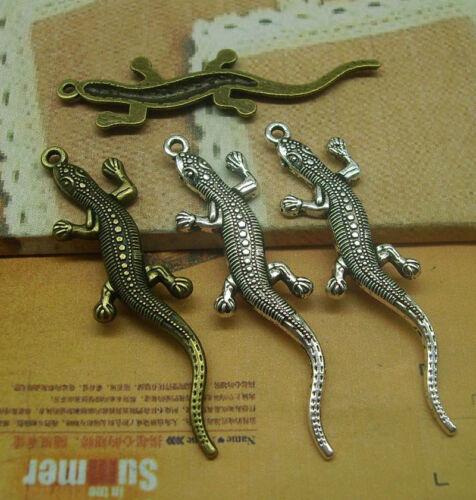 10//30pcs 56x12mm Antique Silver bronze Lovely Filigree A lizard Charms Pendant