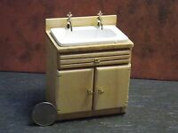 Dollhouse Miniature Oak Kitchen Sink Cabinets 1:12 Inch Scale G94 Dollys Gallery