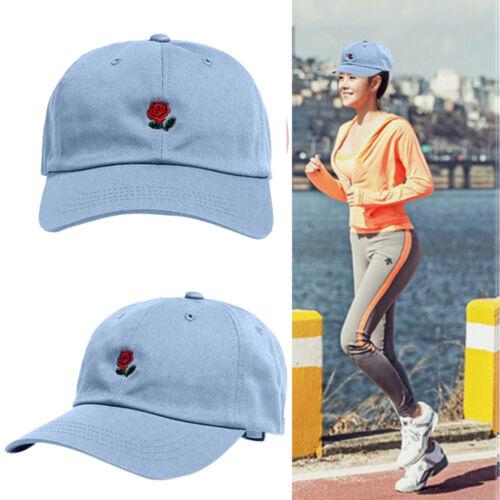 Rose Embroidery Cotton Baseball Cap Boys Girls Snapback Hip Hop Flat Casual Hat