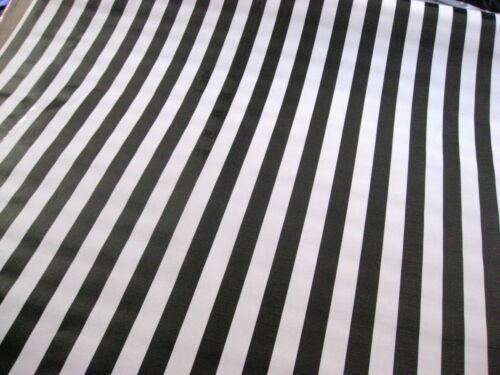 BLACK WHITE CABANA RAILROAD JAIL REF STRIPE DINE OILCLOTH VINYL TABLECLOTH 48x48