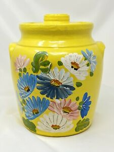 Vintage-Ransburg-Hand-Painted-Stoneware-Pottery-Yellow-Floral-Cookie-Jar-Large