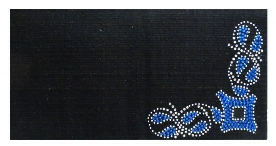 Showman 38 x34  100% Woven New Zealand Wool Saddle Blanket w  blueE Rhinestones