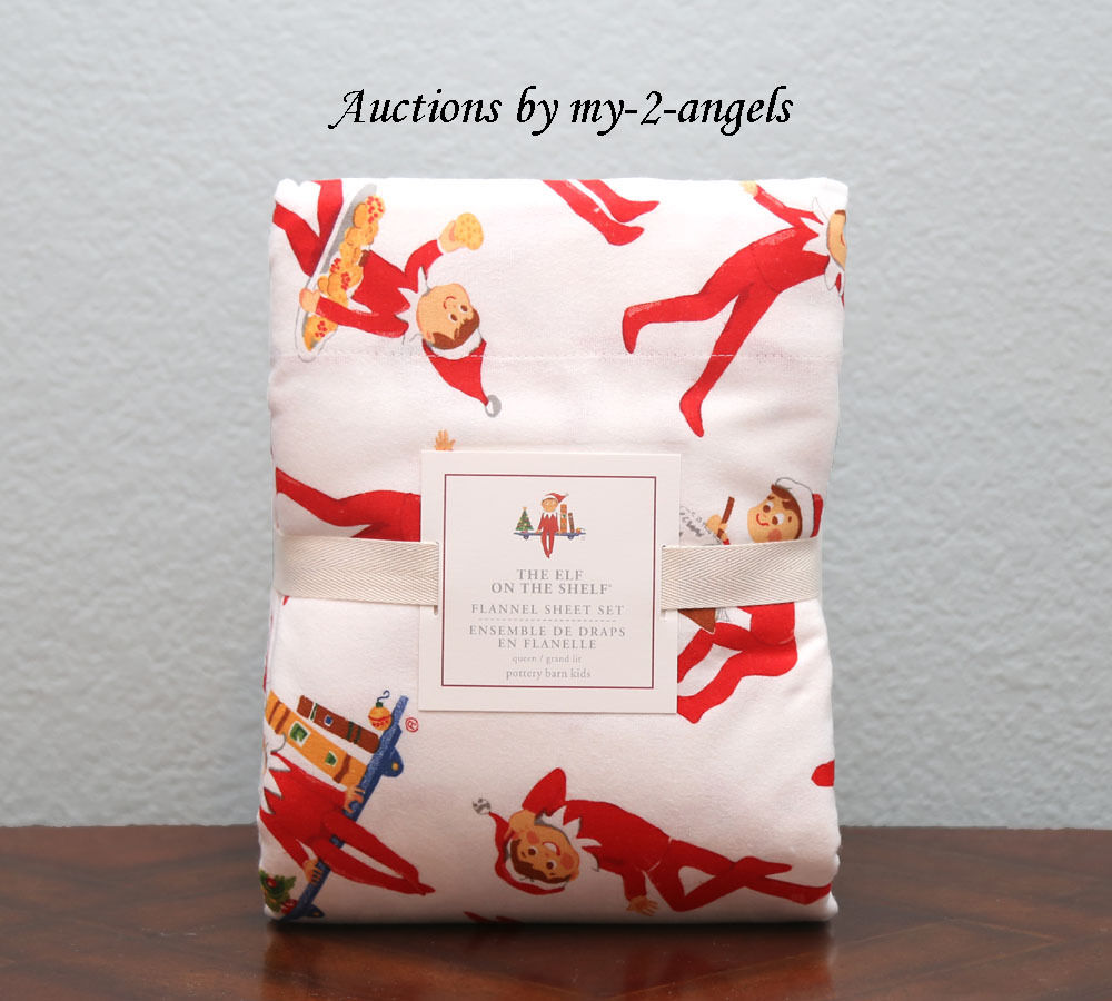 nouveau Pottery Barn Enfants Christmas Holiday ELF ON THE SHELF Flannel Queen Sheet Set