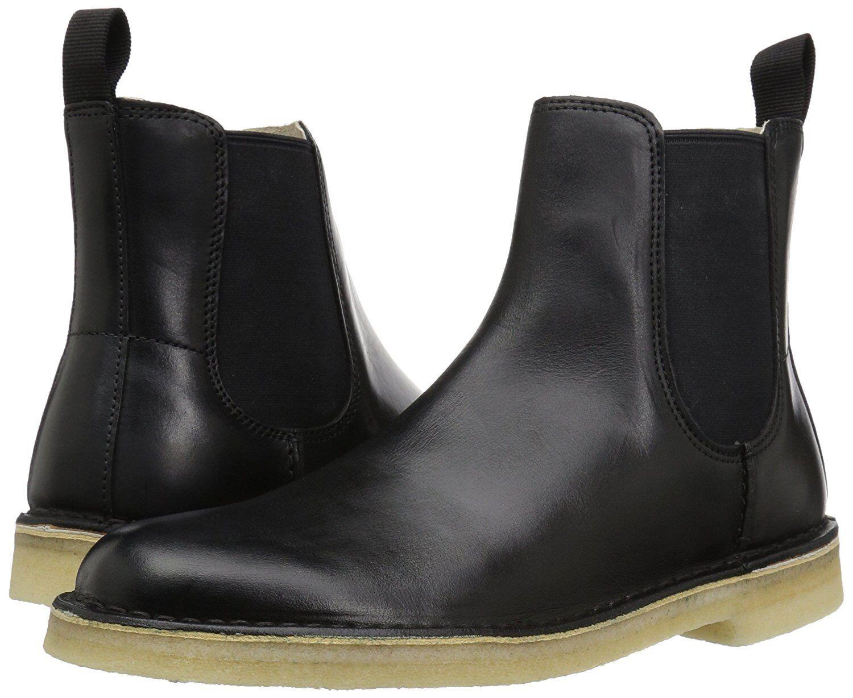 Men's Shoes Clarks Desert Peak Leather Chelsea Boot 28730 Black *New*