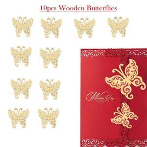 10-un-de-madera-mariposa-tarjetas-coleccion-de-recortes-Artesania-Adornos-Decorar