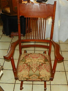 Image Is Loading Solid Quartersawn Oak Carved Glider Rocker Rocking Chair