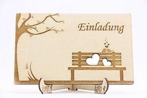 holz einladungskarten laser graviert hochzeit einladung einladung love birds ebay. Black Bedroom Furniture Sets. Home Design Ideas