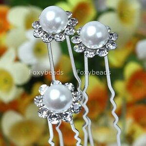 10x-Crystal-White-Faux-Pearl-Flower-Girl-Clip-Hair-Pin