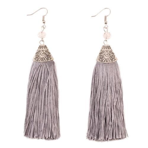 Chunky Rope Tassel Long Pendant Ethnic Drop Earrings for Women Metal Bead Dangle