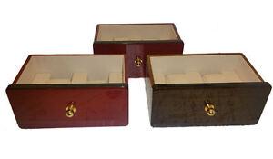Lotto-3-cassettini-porta-2-orologi-Portaorologi-Astuccio-Porta-orologi-in-legno