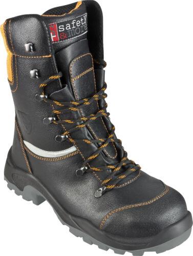 44 Bullstar Schnittschutz-Stiefel Leder S3 Arbeitsstiefel schwarz Gr