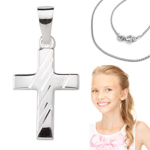 Kinder † Kommunion Konfirmation Kreuz Anhänger mit Collier Kette Echt Silber 925