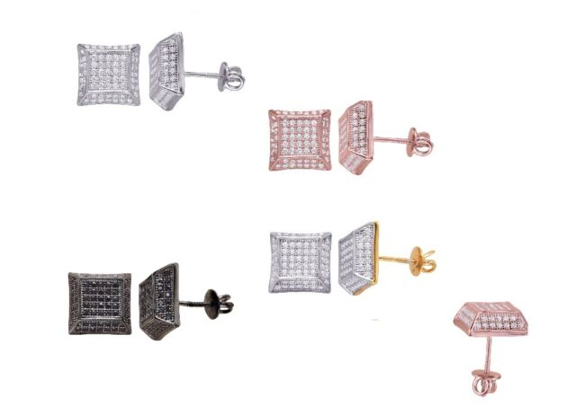 Sterling Silver Iced Out kite Shape Pave  Froster w/CZ 925  Stud Earrings Screw