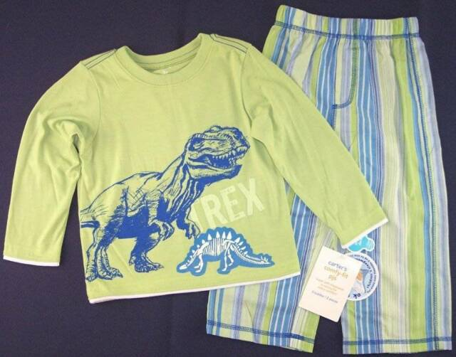 e775253d0bda Carter s Boys Kids 2 PC Glow in Dark T-rex Dinosaur Pajama Set 3t ...