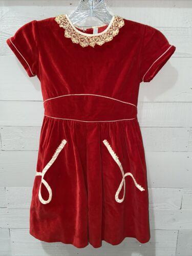 Vintage Red Velvet Dress Little Girl Lace Detail.