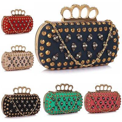 Ladies Fringe Skull Clutch Bag Leather Style Girls Goth Prom Evening Bag Handbag