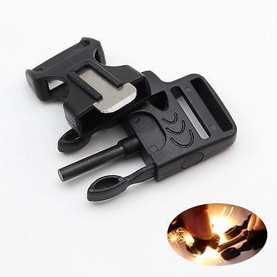 Side Release Whistle Buckle w/ Flint Fire Starter&Striker For Paracord Bracelet