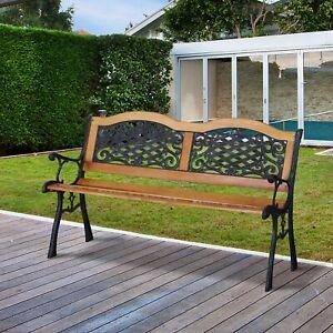 "50"" Garden Bench Park Loveseat Cast Iron Hardwood"