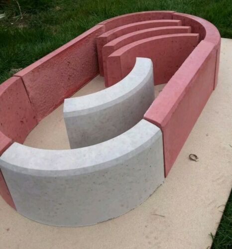 Concrete round edging flower plant pot garden centre piece slab mould