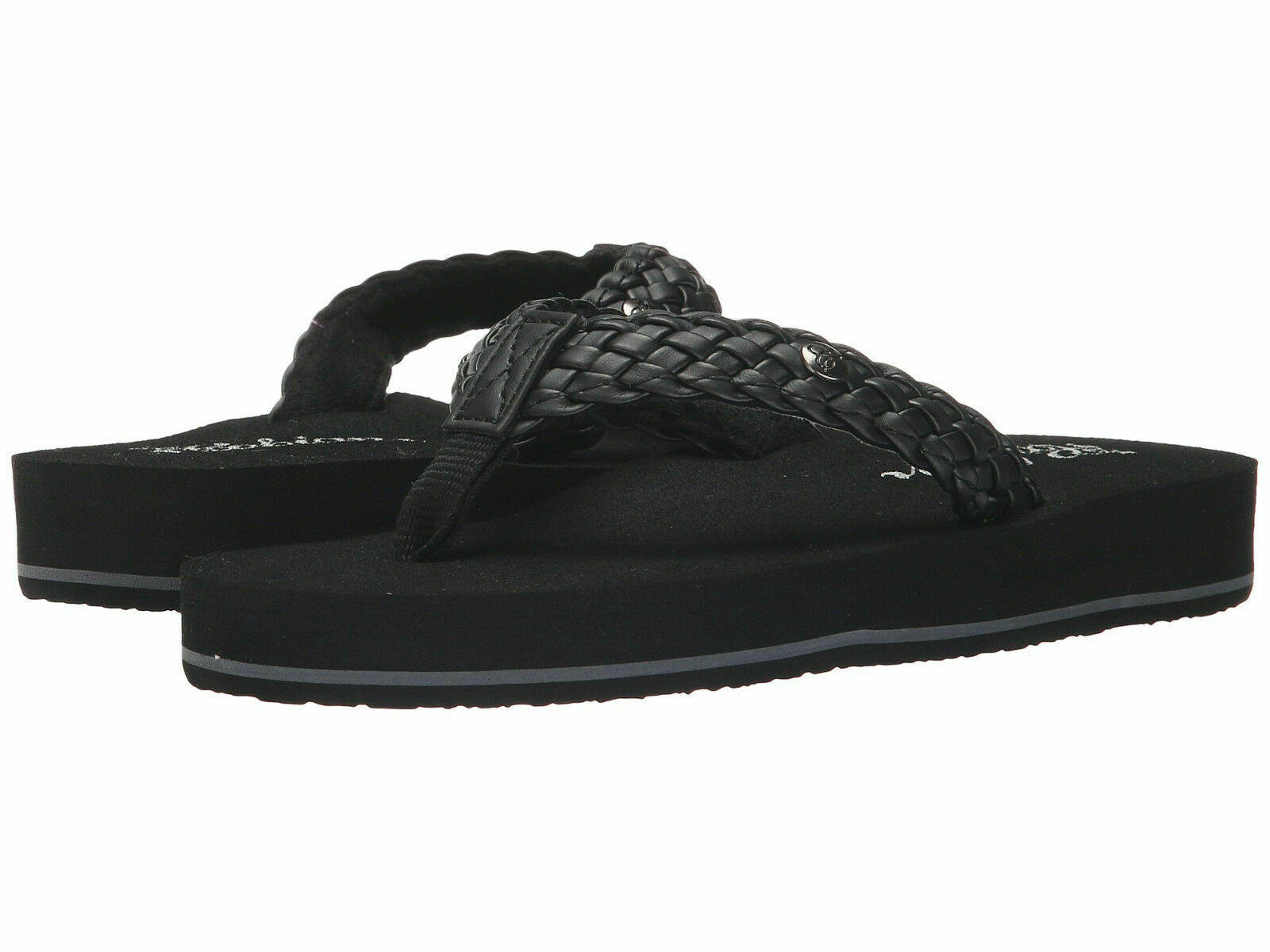 Women Cobian Braided Bounce Flip Flop Sandal BRB10-001 Black 100% Original New