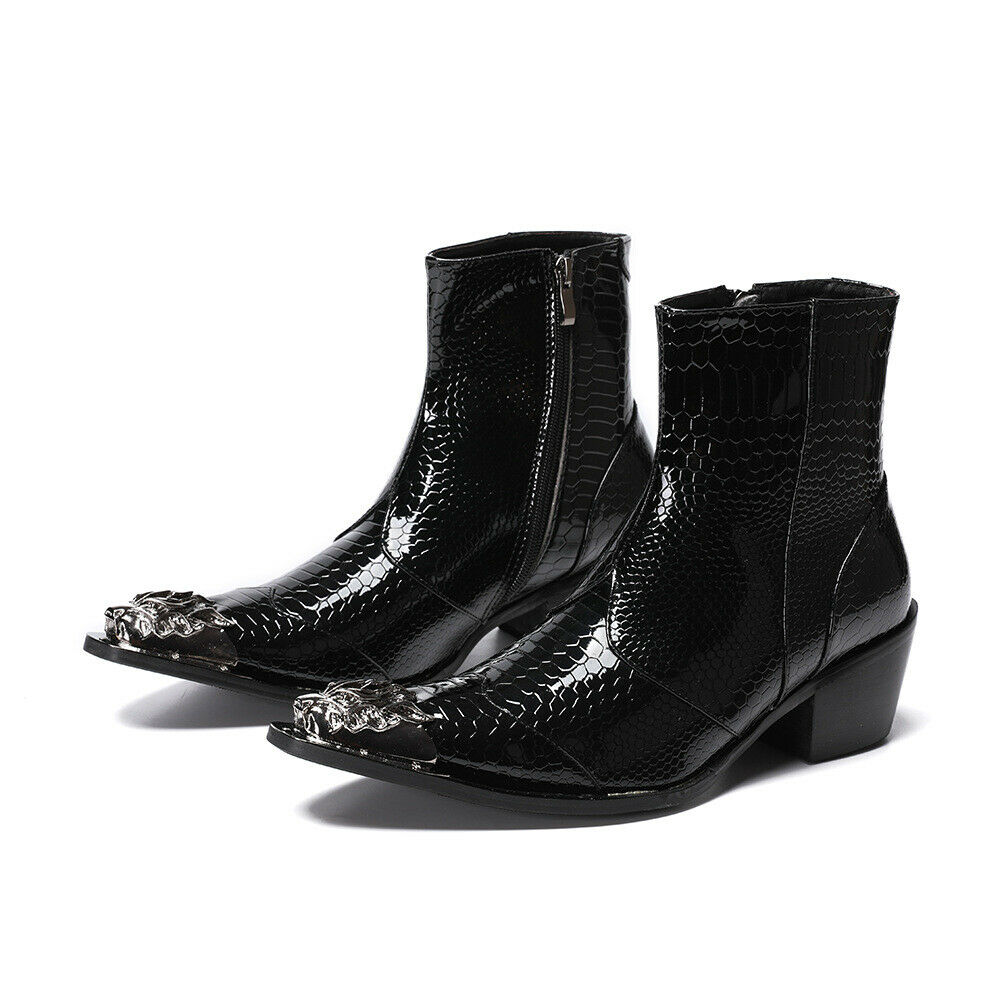 New Men's Real Leather Boot Western Point Metal Toe Nightclub Shoes Zip Black