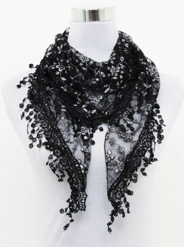 Womens Ladies Lace Tassel Rose Floral Knit Mantilla Triangle Hollow Scarf Shawl