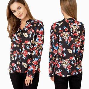 0c7a96346c1 Image is loading Ladies-Debenhams-Black-Floral-Print-Casual-Blouse-Evening-