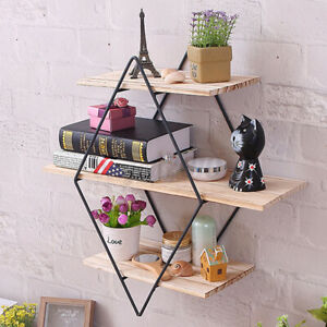 Retro-Industrial-Style-Rhombus-Wood-Metal-Home-Wall-Shelf-Rack-Storage-Holder