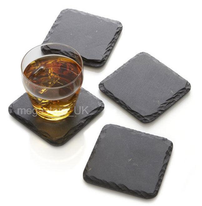 80pc Rustic Natural Slate Table Mat Coffee Tea 10x10cm Square Coasters Bulk Sale