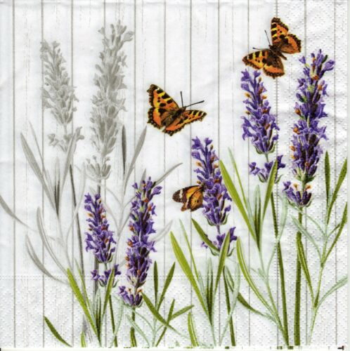 4x PAPER NAPKINS for Decoupage SMELL WELL LAVENDER Butterflies Floral Flowers
