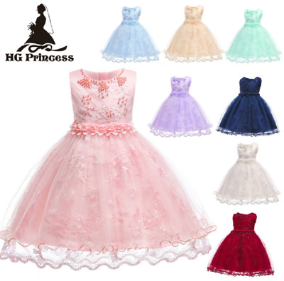 Flower Girl Princess Dress Kid Party Pageant Wedding Bridesmaid Ball Gown ZG9