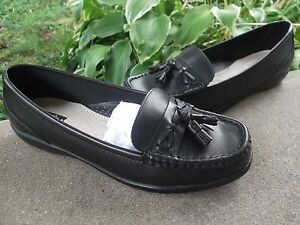 Womens THOM McAN loafers size US 9.5 W black leather shoes wide flats FREESHIPP