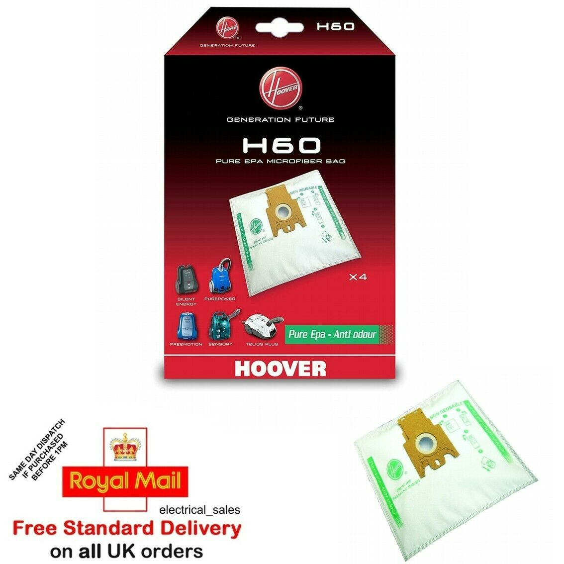 Hoover Genuine H60 Bags Sensory Purepower Silent Energy Freemotion Cylinders
