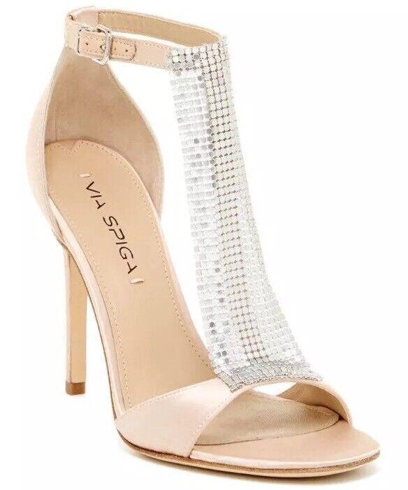 ..NIB  295 Via Spiga Timone damen damen damen US 9 Champagne T Strap Dress Sandals a6d9ec