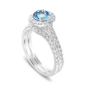 6d50d23a3 Image is loading Aquamarine-Engagement-Ring-Set-amp-Diamonds-Bridal-Sets-