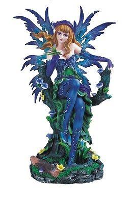 12 Inch Blue Fairy with Hummingbird Figure Figurine Statue Fantasy Magic