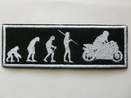 """BIKER PATCH Evolution from Ape Monkey to Motorcycle Rider 5-1//2/""""x2/"""" Black White"""
