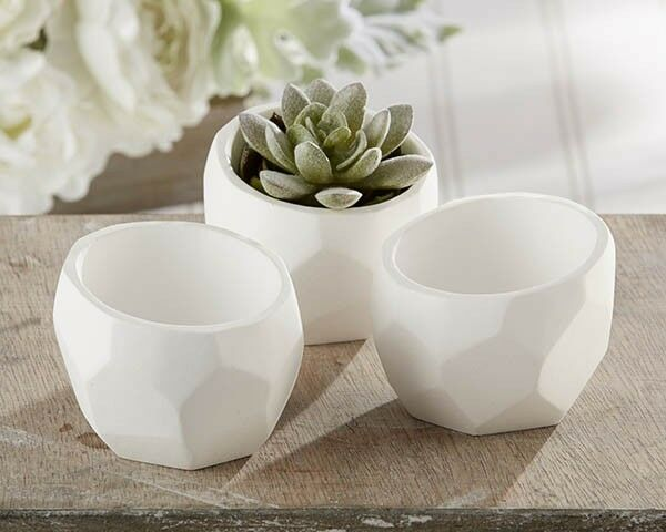 Set of 4 Modern Garden Geometric White Planter Wedding Party Favors Candy Holder