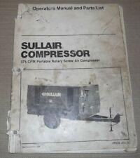 Sullair 375 Cfm Air Compressor Parts Operation Maintenance Manual