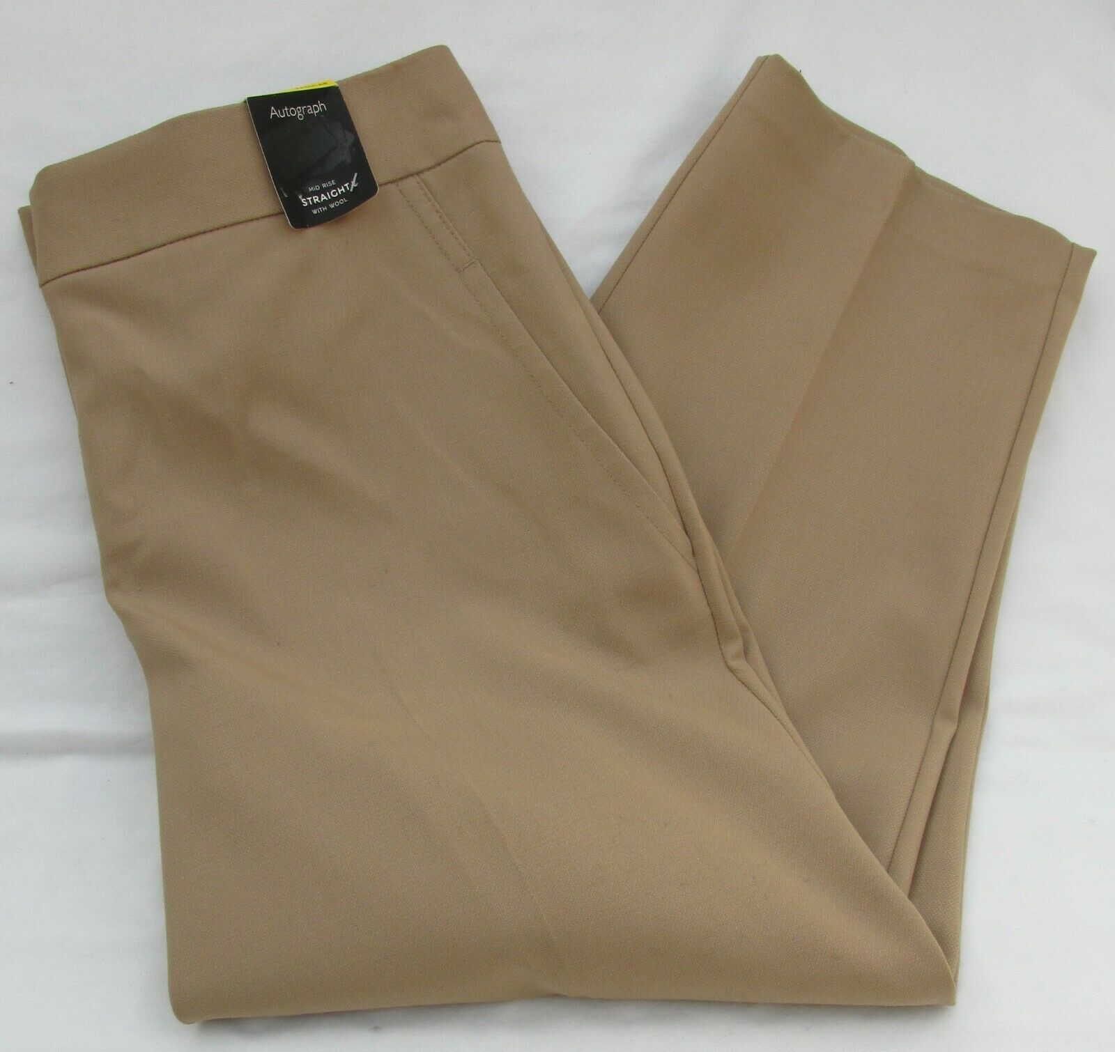 LADIES MARKS & SPENCER AUTOGRAPH BEIGE STRAIGHT TROUSERS WITH WOOL SIZE 16