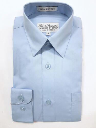 Boy/'s Blue 100/% Cotton Dress Shirt Size 2 to 20