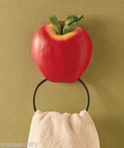 Country Apple Decorations For Kitchen 3d country red apple decorative kitchen wall towel ring holder bath