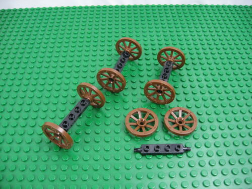 6038 #2470 2926 8x LEGO Old Brown SMALL Wagon Wheel w//Black Holder 1x4 12 PCS